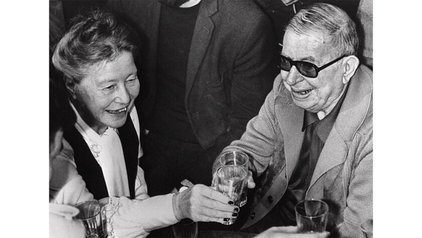 Jean-Paul Sartre and longtime companion Simone de Beauvoir in Paris in 1977.