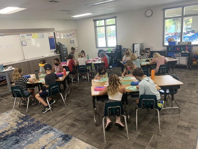 Students inside a classroom at the new Solana Vista School.