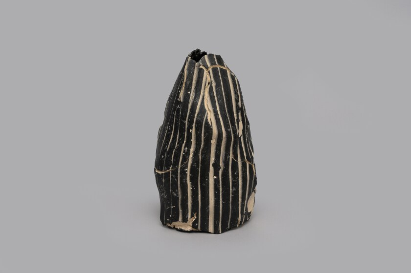"""Keita Matsunaga at Nonaka-Hill: """"Organism,"""" 2019, ceramic, glaze, decal, 7-7/8 inches by 4-1/2 inches by 4-1/4 inches"""