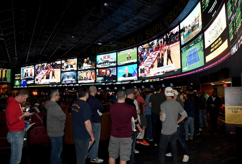 Guests line up to place bets at the Westgate Las Vegas resort and casino in Las Vegas.