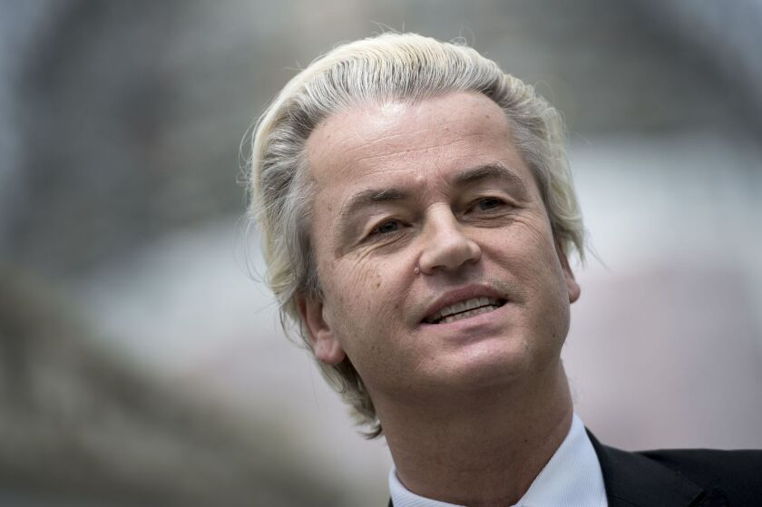 """The leader of the Dutch far-right Freedom Party (PVV), Geert Wilders, is seen during a visit to Washington, D.C. in April. Wilders has advocated closing Dutch borders to stop what he has called an """"Islamic invasion."""""""