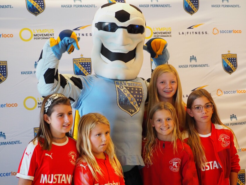 Cardiff Mustangs players joined the pregame ceremony at the Sockers season opener Nov. 24.