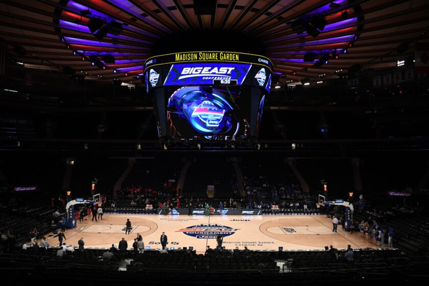 A general view of the arena before the first half between the St. John's and Creighton during the quarterfinals of the Big East Basketball tournament on Thursday in New York City.
