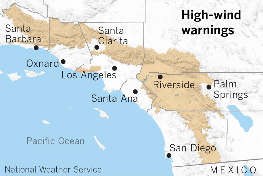 Gusty north to northeasterly winds trigger high-wind warnings in Southern California mountains