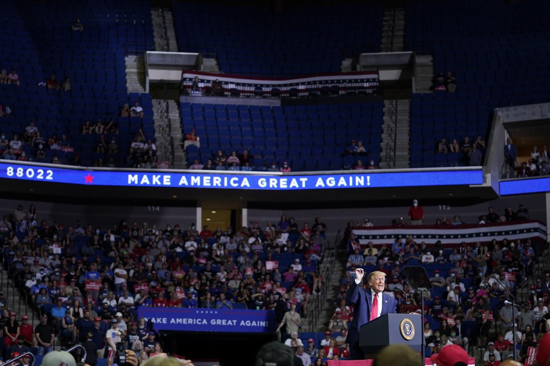 President Donald Trump speaks during a campaign rally at the BOK Center, Saturday, June 20, 2020, in Tulsa, Okla. (AP Photo/Evan Vucci)