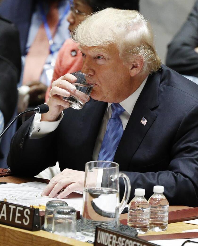 El presidente estadounidense, Donald Trump, preside el Consejo de Seguridad de las Naciones Unidas (ONU) en el marco del 73 periodo de sesiones de la Asamblea General de la ONU, en la sede de la ONU en Nueva York, Estados Unidos, hoy, 26 de septiembre de 2018. EFE