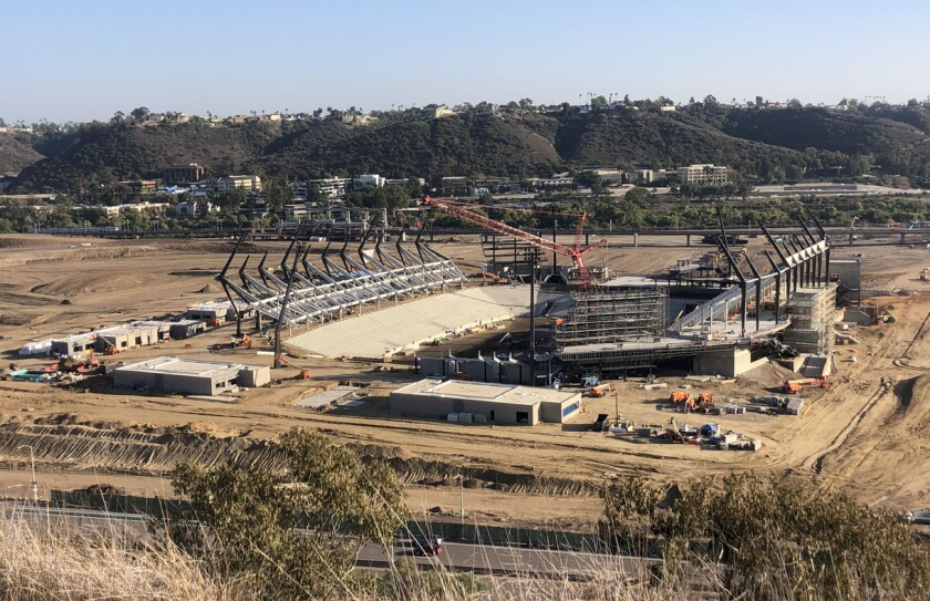 Placement of precast concrete at Aztec Stadium is well underway, setting the stage for installing seats.