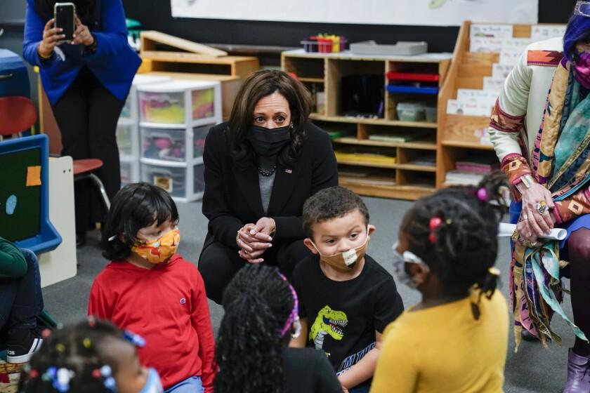 Vice President Kamala Harris visiting classroom