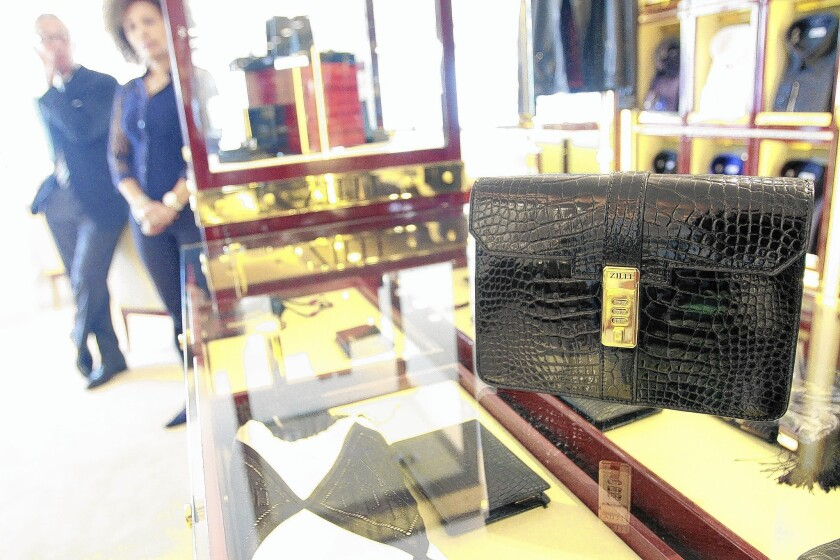 Zilli's alligator combination lock bag is on display at Battaglia, a menswear shop that bills itself as the oldest store on Rodeo Drive in Beverly Hills.