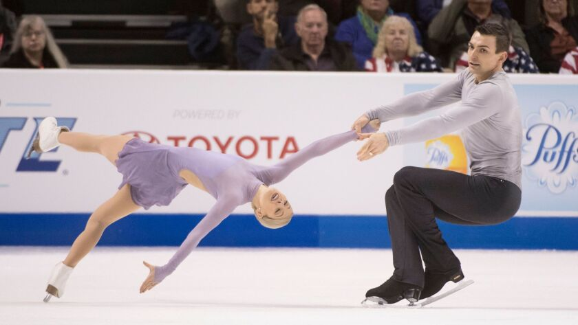 Alexa Scimeca-Knierim and Christopher Knierim perform in the pairs free skate program during the 2018 U.S. Figure Skating Championships at SAP Center.