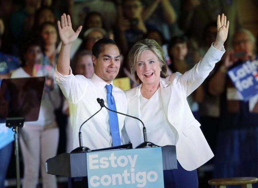 Julian Castro and Hillary Clinton
