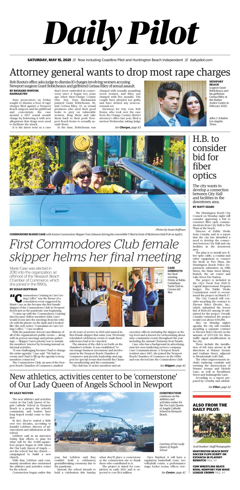 Front page of Daily Pilot e-newspaper for Saturday, May 15, 2021.