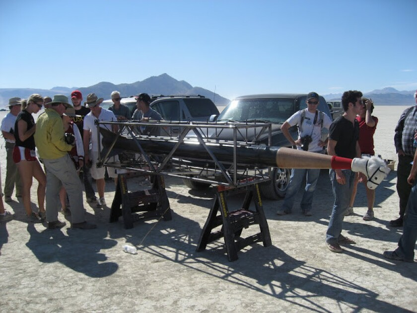 University of Southern California students test the Traveler rocket in 2011. On Friday, students from USC's Rocket Lab planned to attempt a launch into space.