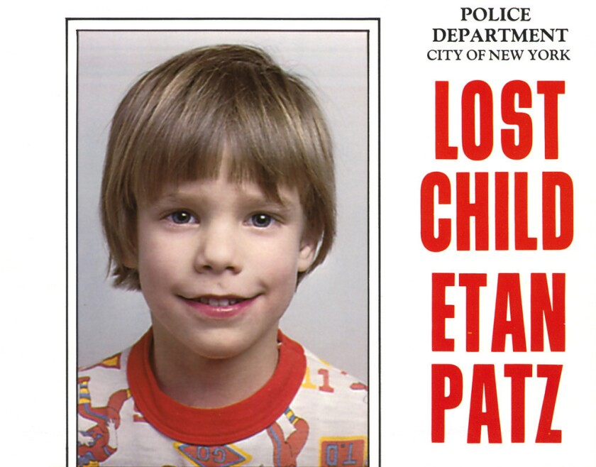 One of the original flers distributed by the New York Police Department of Etan Patz, who vanished in New York on May 25, 1979.