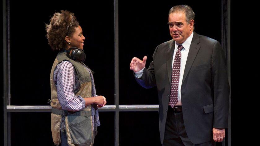 Jade Wheeler and Edward Gero in The Originalist at The Pasadena Playhouse.