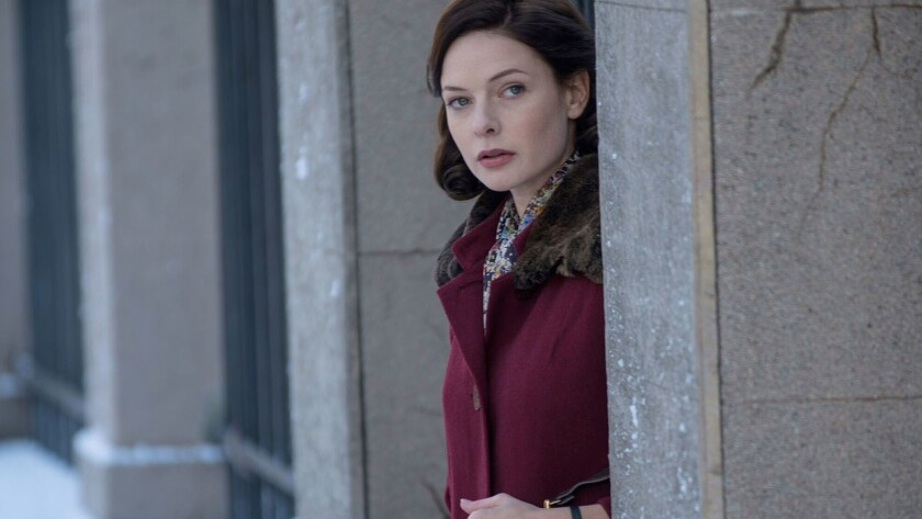 "Rebecca Ferguson as Katya, a spy, in ""Despite the Falling Snow."""
