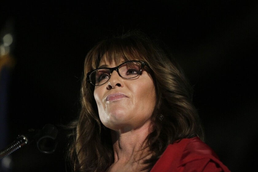 Former Alaska Gov. Sarah Palin speaks at a rally, Thursday, Sept. 21, 2017, in Montgomery, Ala. Palin is in Montgomery to support support of Judge Roy Moore for the U.S. Senate candidacy.