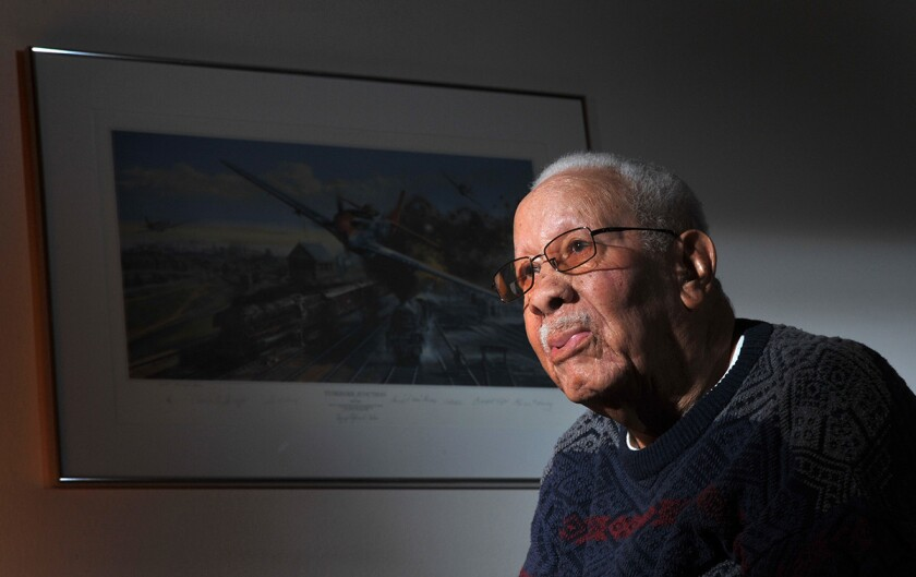 Lowell C. Steward, a former member of the Tuskegee Airmen, pictured here in 2012, died Dec. 17 in California. He was 95.