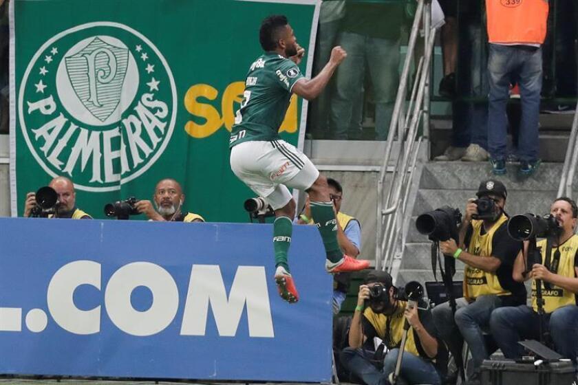 Imagen de archivo de Miguel Borja (c) de Palmeiras celebrando un gol contra Colo Colo, el pasado miércoles 3 de octubre de 2018, durante un partido de cuartos de final de la Copa Libertadores, en el estadio Allianz Parque de la ciudad de Sao Paulo (Brasil). EFE/Archivo