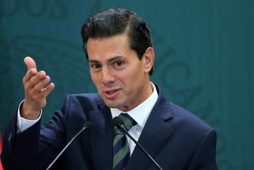 El presidente de México, Enrique Peña Nieto participa el 12 de enero de 2017, durante un acto oficial sobre el anuncio de un paquete de medidas sociales para economía familiar, en Ciudad de México (México). EFE