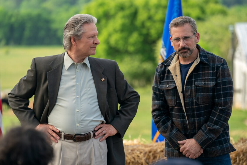 "Chris Cooper, left, and Steve Carell in the movie ""Irresistible."""