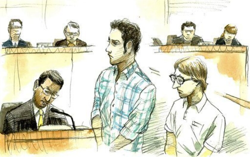 In this courtroom sketch, U.S. Navy Seaman Christopher Browning, of Athens, Texas, right, and Petty Officer 3rd Class Skyler Dozierwalker, of Muskogee, Oklahoma, attend a session at the Naha District Court in Naha, Okinawa Prefecture (State), Japan, Friday, March 1, 2013. Browning, 24, was sentence