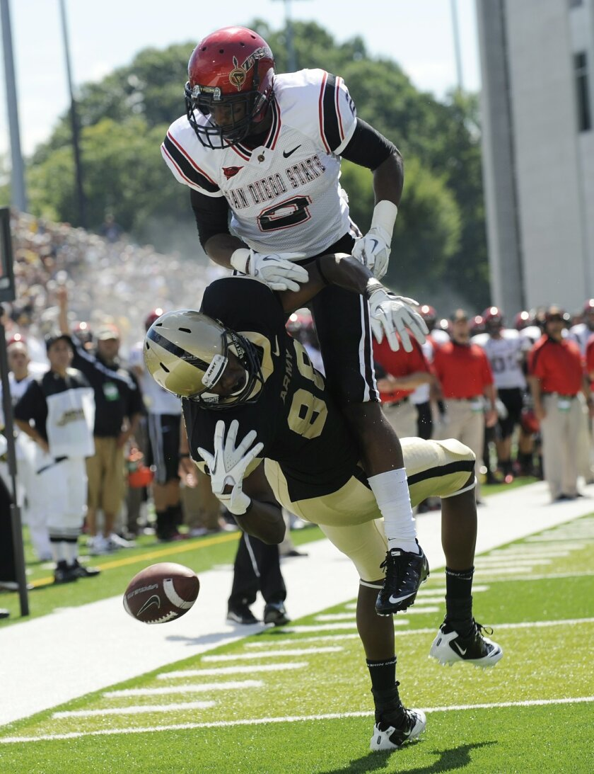 San Diego State's Leon McFadden defends a pass against Army Sept. 10.