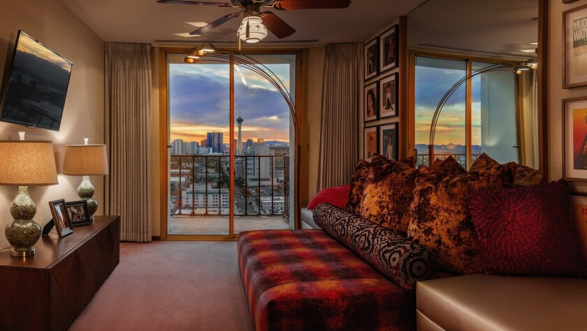 In the distance, the Las Vegas Strip is seen from one of the two bedrooms in the Gaughan suite.