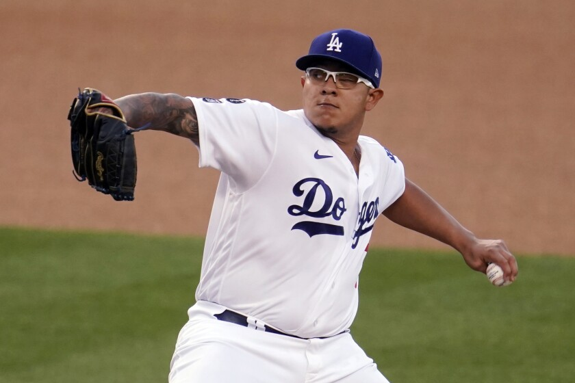 Julio Urías throws a pitch for the Dodgers.