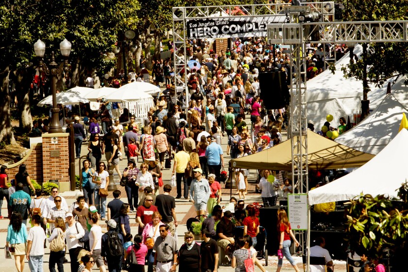 Visitors attend the Los Angeles Times Festival of Books in 2011, when it was held for the first time at USC.