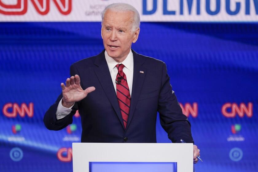 Former Vice President Joe Biden participates in a Democratic presidential primary debate in March.
