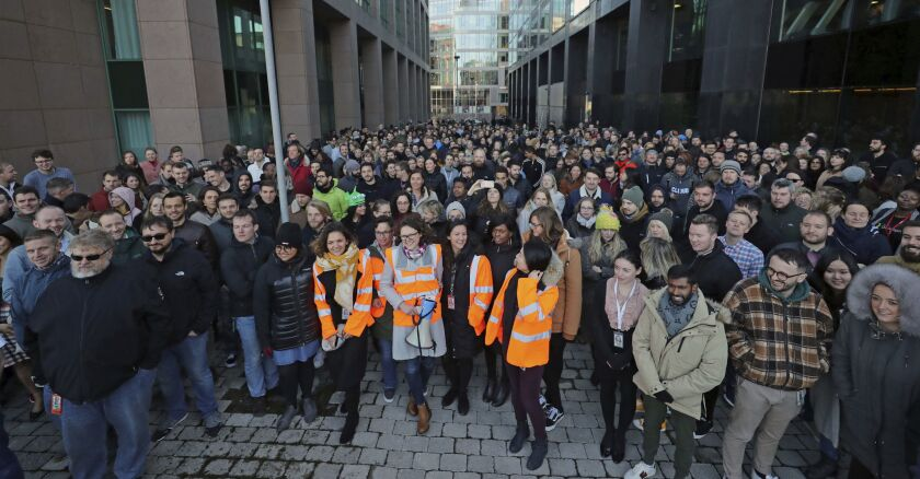 Google employees protest in Dublin on Nov. 1, 2018