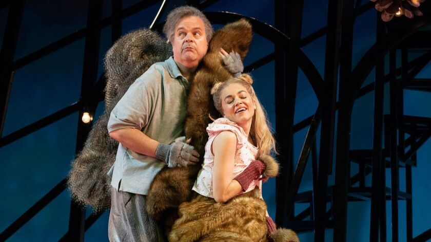 """Brad Oscar as the plotting Sciuridae and Summer Spiro as the heartless Rodentia in La Jolla Playhouse's world-premiere production of Robert Askins' """"The Squirrels."""""""