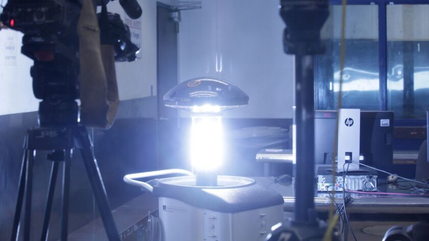 LOS ANGELES, CALIF. - JUNE 28, 2019: Light Strike, a germ-zapping robot, was shown working at the LA