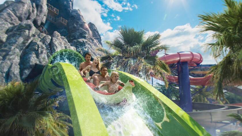 Concept art of the Krakatau Aqua Coaster coming to Universal's Volcano Bay water park.