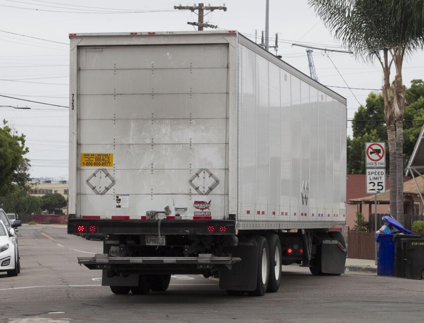 An 18 wheeler made it's way down 26th street in the Barrio Logan neighborhood of San Diego August 27 , 2019 despite the signs barring no truck traffic for vehicles over 5 tons.