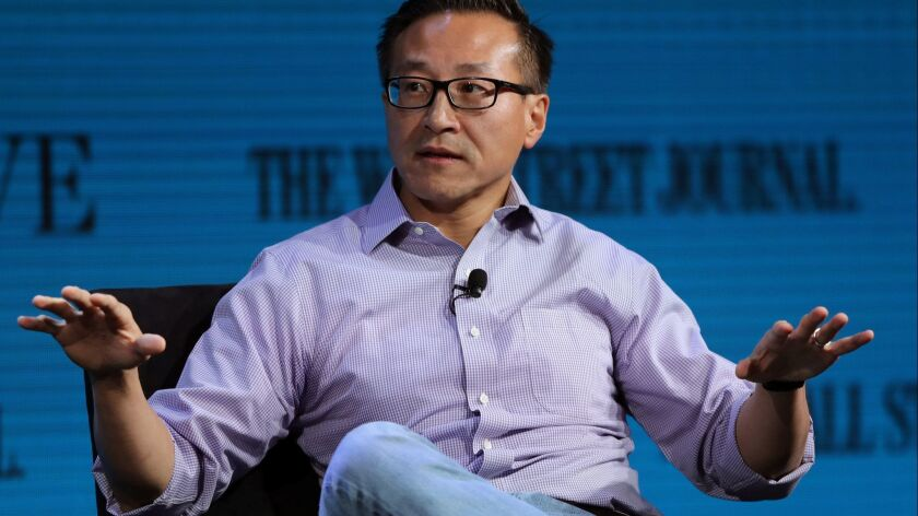 Joseph Tsai, Executive Vice Chairman of Alibaba Group, speaks at the Wall Street Journal Digital Conference in Laguna Beach, October 17, 2017.