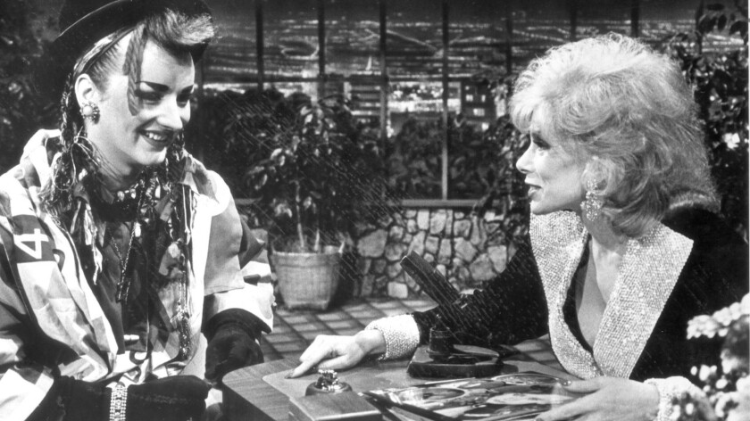 """Boy George talking to permanent guest host Joan Rivers on """"The Tonight Show"""" on Nov. 30, 1983."""