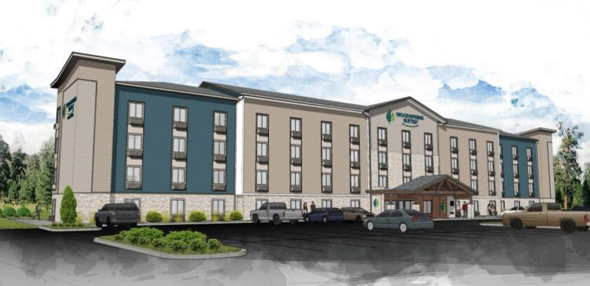 An artist's rendering of the coming WoodSprings Suites on Mission Gorge Road in Santee.
