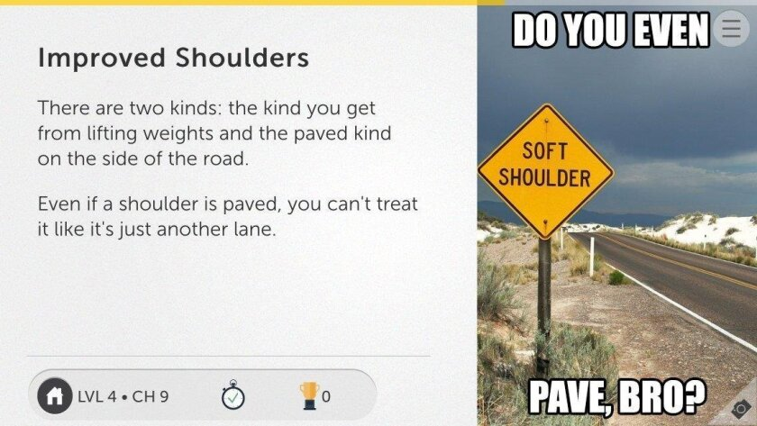 A screenshot from the Aceable app depicts driver's ed content in meme form, which is meant to appeal to today's teenagers.