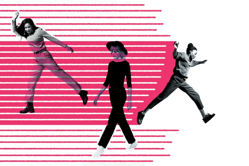 Illustration of three women walking and jumping