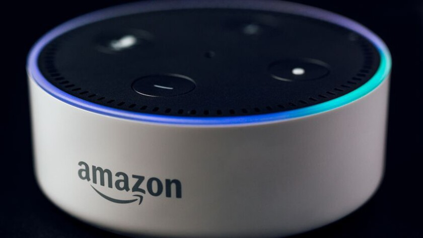 An Amazon Echo Dot is shown. It was not clear what type of Echo device the couple whose conversation was recorded had.
