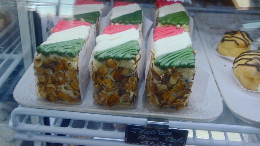 Traditional Sicilian cake with ricotta and rum is sold by the slice at Filomena's.