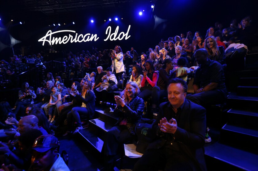 Members of the audience applaud during a dress rehearsal for the March 24, 2016 episode of American Idol at CBS Television City in Hollywood.