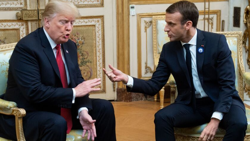 President Trump with French President Emmanuel Macron in Paris on Nov. 10.