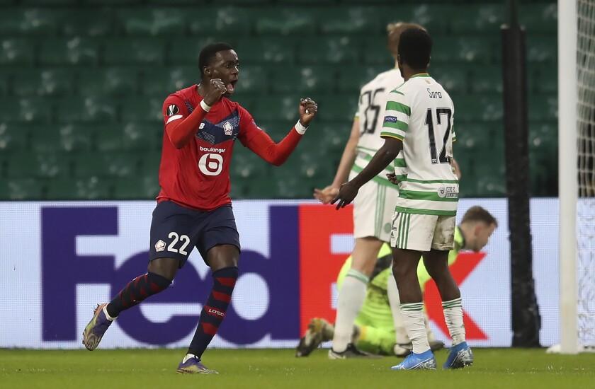 Lille's Timothy Weah celebrates scoring against Celtic during the UEFA Europa League Group H match at Celtic Park, Glasgow, Scotland, Thursday Dec. 10, 2020. (Jane Barlow/PA via AP)