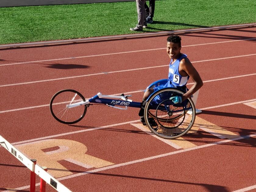 Josiah Ettore, a Ramona High sophomore, won three CIF San Diego Section championships in adaptive wheelchair events.