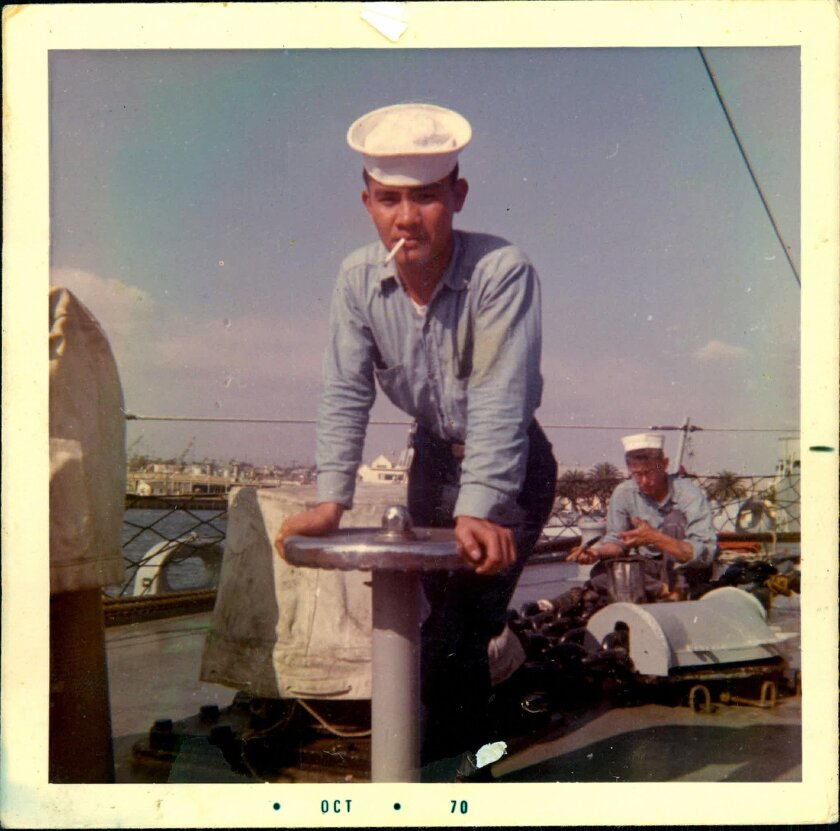 Andrew Dolopo shown aboard the Horne in 1970. He retired from the Navy in 1983. Courtesy Dolopo Family