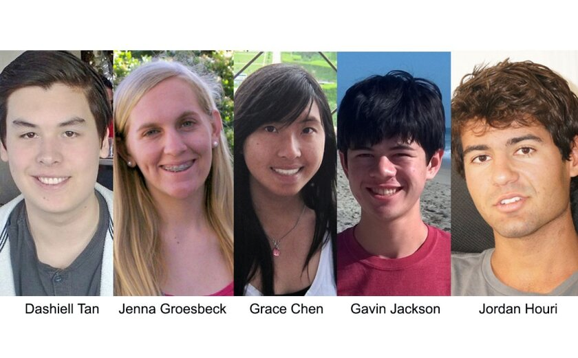 The five North County high school students pictured above are among just a fraction of 1 percent of test-takers who earned a perfect score on the ACT college entrance exam this spring.