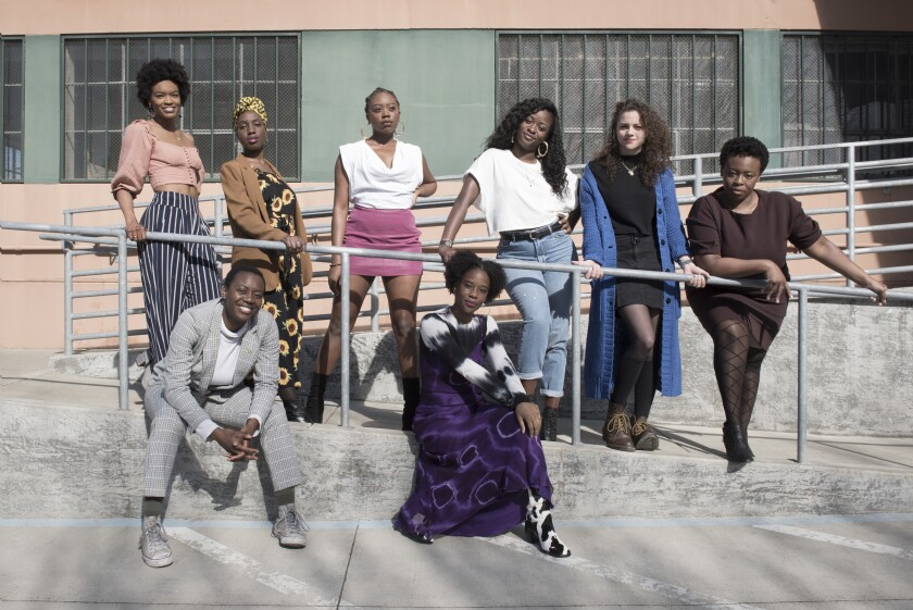 "The cast of Berkeley Rep's production of ""School Girls; Or, The African Mean Girls Play"""